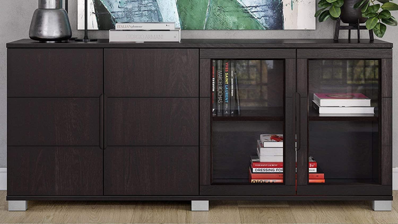 Zuri Furniture Hayes Modern Cabinet - Dark Oak with Glass Doors
