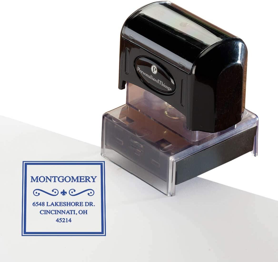 Personalized Address Stamper, Custom Return Address Self Inking Stamp Border Swirl Design, Blue - Wedding Invitation Stamp Thank You Card Stamp