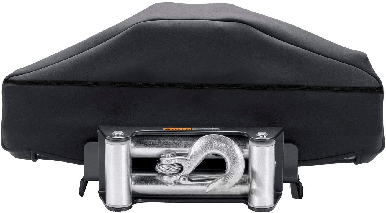 Winch Dust Cover, Heavy Duty Winch Cover with Zipper &Drawstring Close, Waterproof and Dustproof Winch Protection Cover Water and UV Resistances (Dark Grey)