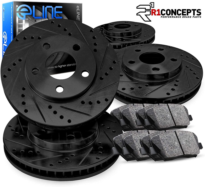 For Hyundai Tucson R1 Concepts eLine Front Rear Black Drill Slot Brake Rotors Kit + Ceramic Brake Pads