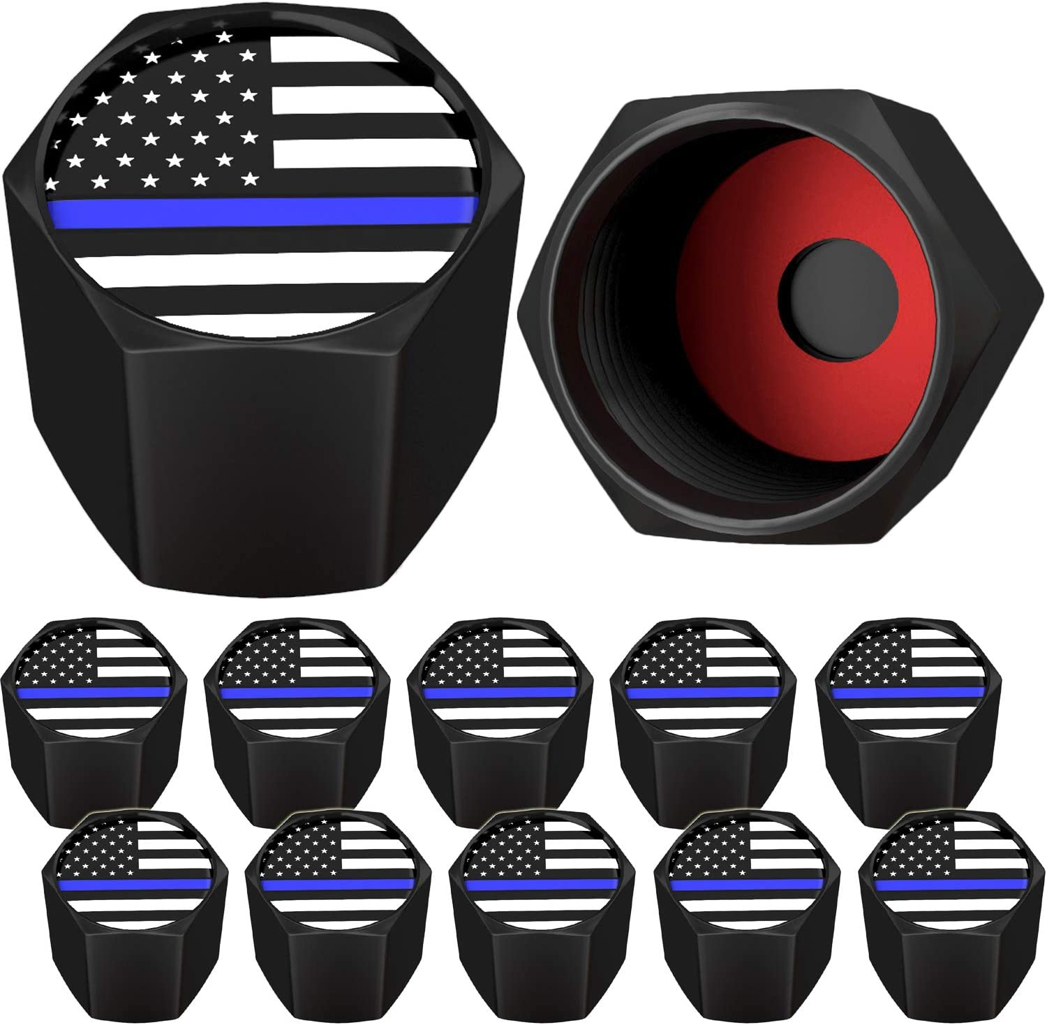 SAMIKIVA American Flag Tire Valve Stem Caps, USA with O Rubber Ring, Universal Stem Covers for Cars, SUVs, Bike, Bicycle, Trucks, Motorcycles, Airtight Heavy Duty (12 Pack) (Black Blue USA (12 Pack))