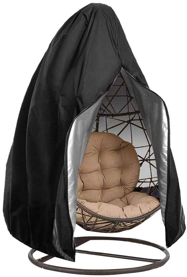hemicala Patio Hanging Egg Chair Cover, Durable Lightweight Waterproof Egg Swing Chair Cover with Zipper Fits Most Outdoor Single Swing Egg Chair Dust Protector (75