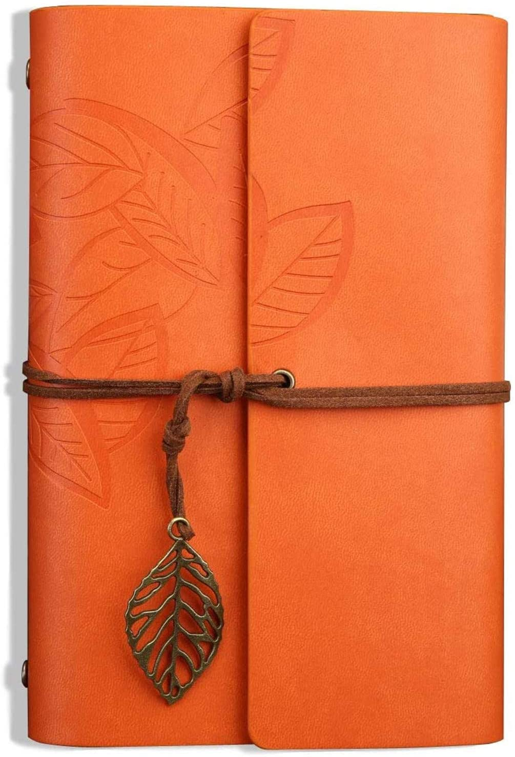 Retro Leaves Pendants PU Leather Cover Loose Leaf Blank Writing Journal Notebook Diary Gift (Orange, A6(7 inch))