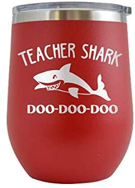 Teacher Shark - Engraved 12 oz Stemless Wine Tumbler Cup Glass Etched - Funny Birthday Gift Ideas for him, her, mom, dad, husband, wife (Red - 12 oz)