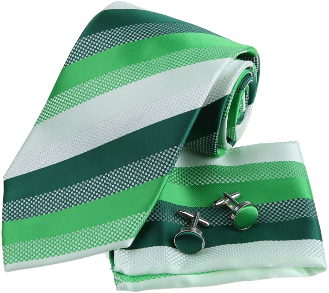 Epoint Men's Fashion Multicolored Striped Comfort Groomsmen Silk Mens Necktie Set