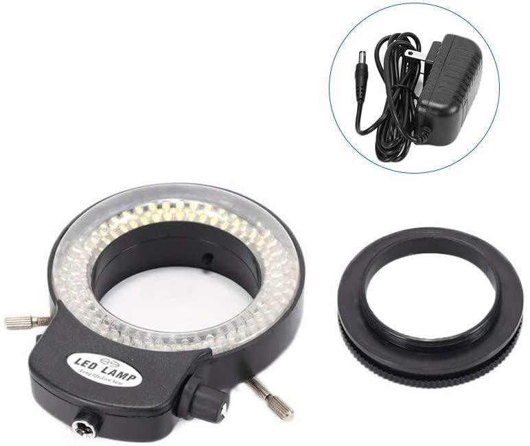 Adjustable 144 LED Ring Light Illuminator for Stereo Microscope,KKmoon Variable 144 LED Ring Light for Stereo Microscope and Camera Adjustable Illuminator with Dimmer for Stereoscopic Microscope
