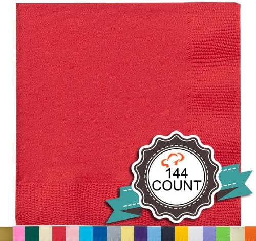 Tiger Chef 144-Pack 2-Ply Red 5 X 5 inch Beverage Bulk Disposable Small Bar Square Paper Napkins for Cocktail Coffee Drinks Desserts Weddings Party Decor - Includes Napkin Folding Guide