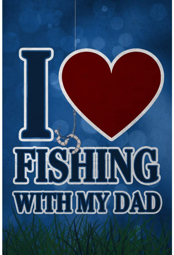 iCandy Combat I Love Fishing with My Dad Heart Man Cave Bar Decor Sign - 2 Pack Signs