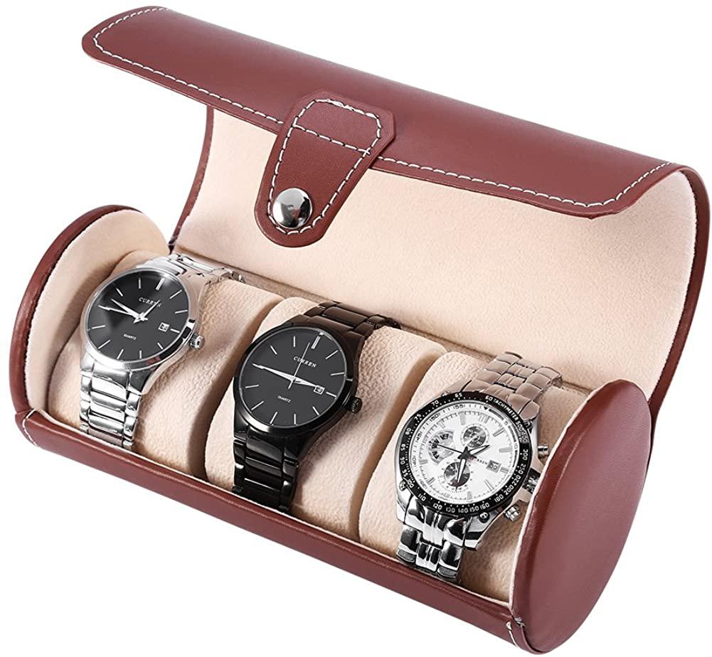 Alucy Watch Storage Box, Watch Box, 2 Colors 3 Grids Luxury Cylinder Watch Roll Holder, Wristwatch Display Case, Jewelry Gift, Watch Box Organizer, Storage Box Watch Box, Mens Watch Organizer