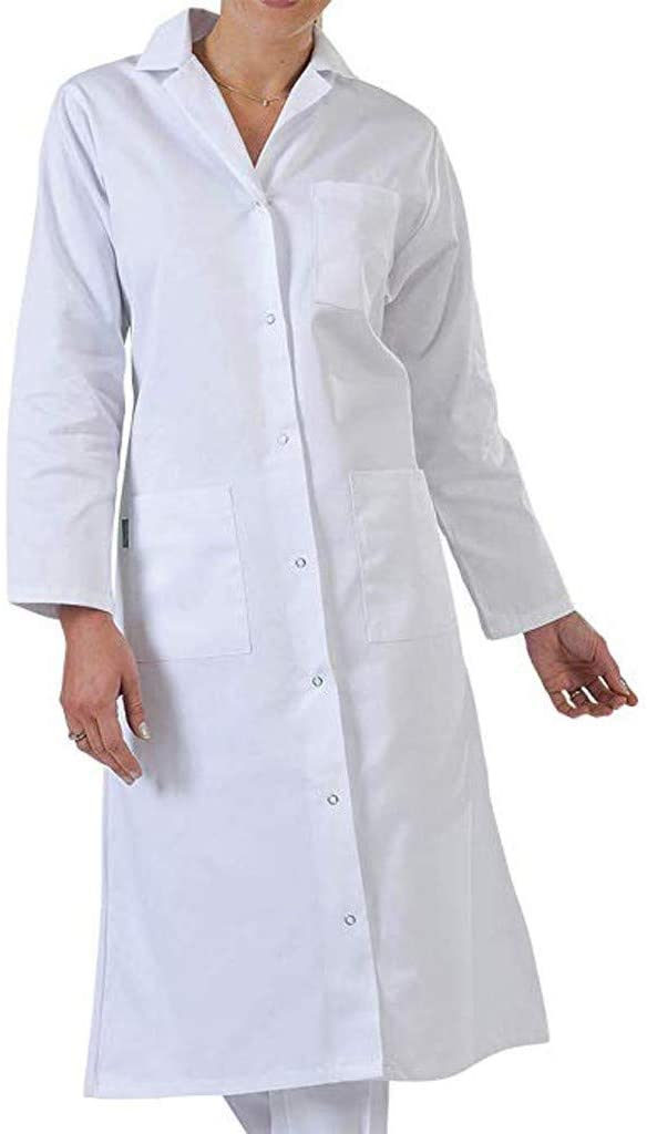 TOTAMALA Women's Hospital Surgical Gown Coat Gown Doctor Nurse Jacket Coveralls Protective Coats with Long sleeves Medical Gowns Full Length Lab Coats (3XL, White)