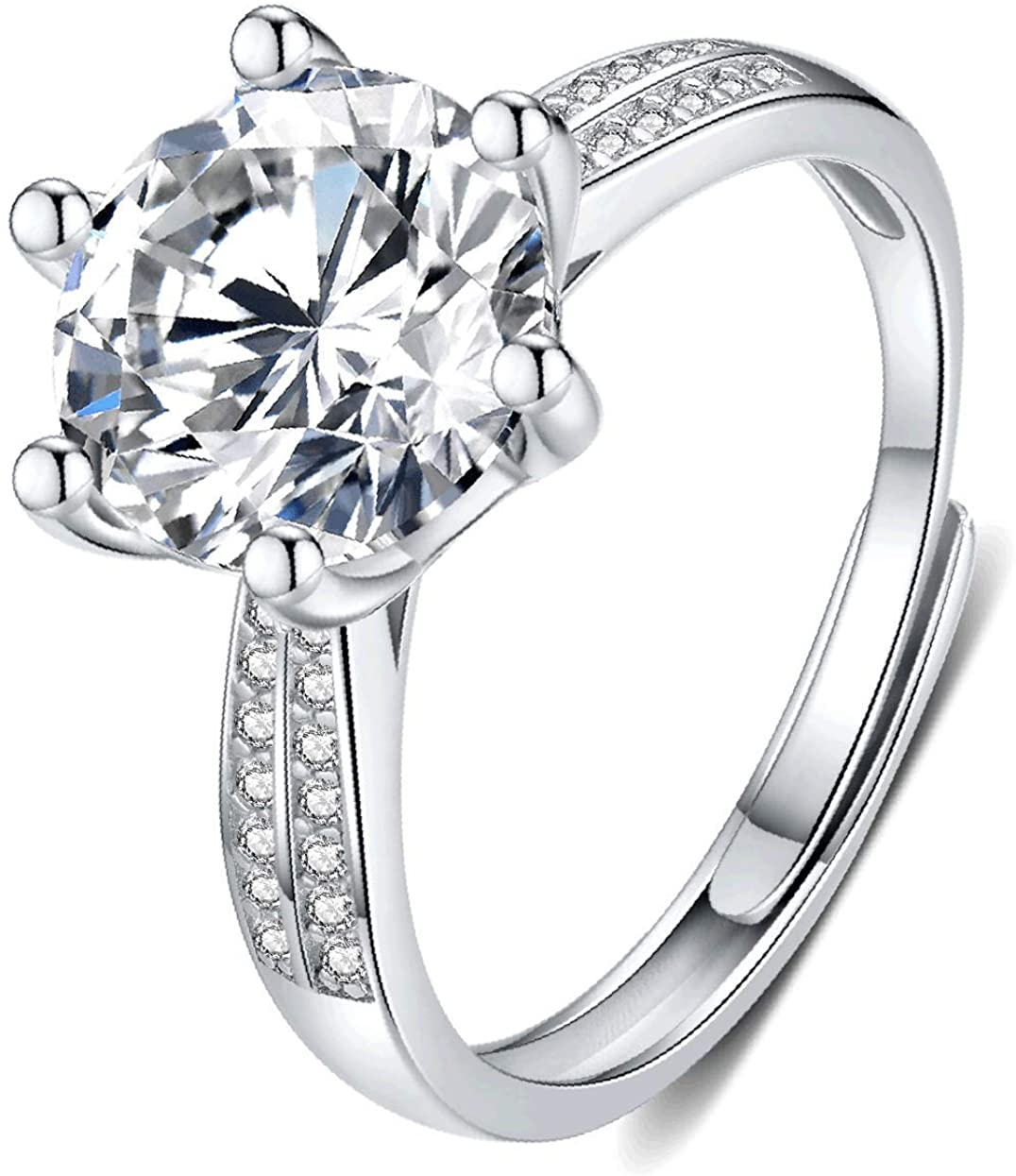 Moissanite Engagement Ring Center 2CT 8mm 18K White Gold Plated silver D Color Ideal Cut Diamond Wedding Ring for Women with Certificate of Authenticity, One Size Adjustable