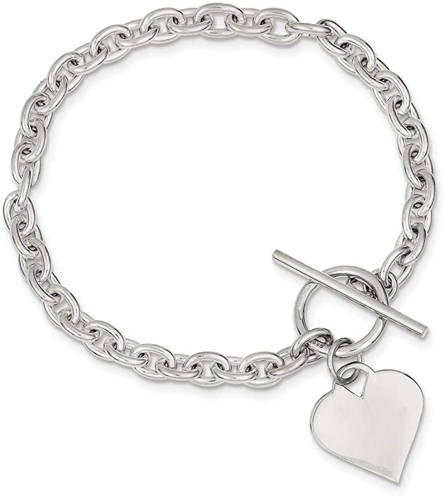 925 Sterling Silver Engraveable Heart Toggle Bracelet 8 Inch Charm W/charm/love Fine Jewelry For Women Gifts For Her
