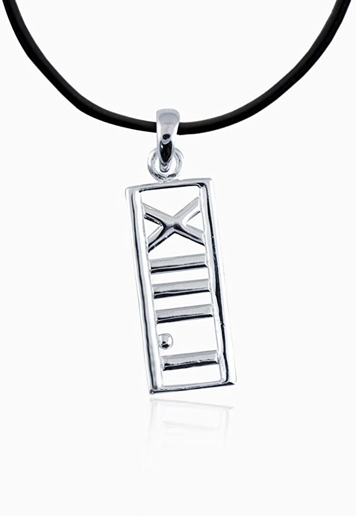 Gone For a Run Sterling Silver Roman Numeral 13.1 Half Marathon Rectangular Pendant Necklace