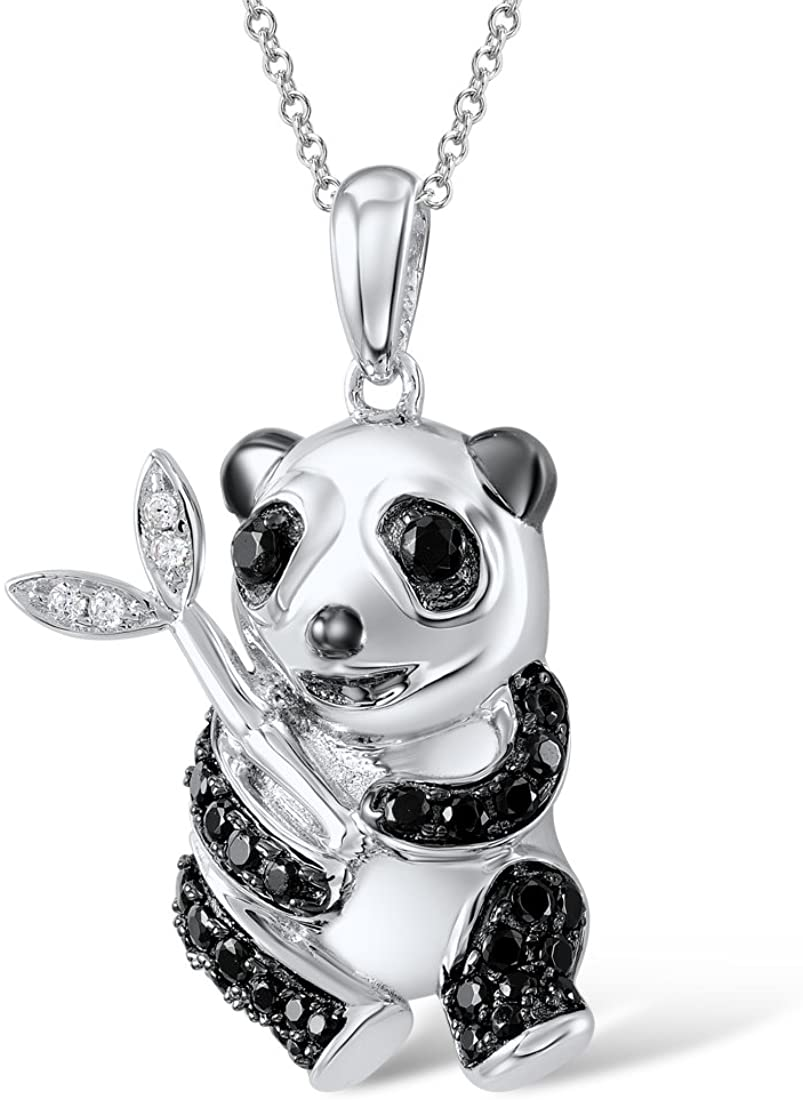 Sterling Silver Cute Panda Pendant Necklace Black Spinel