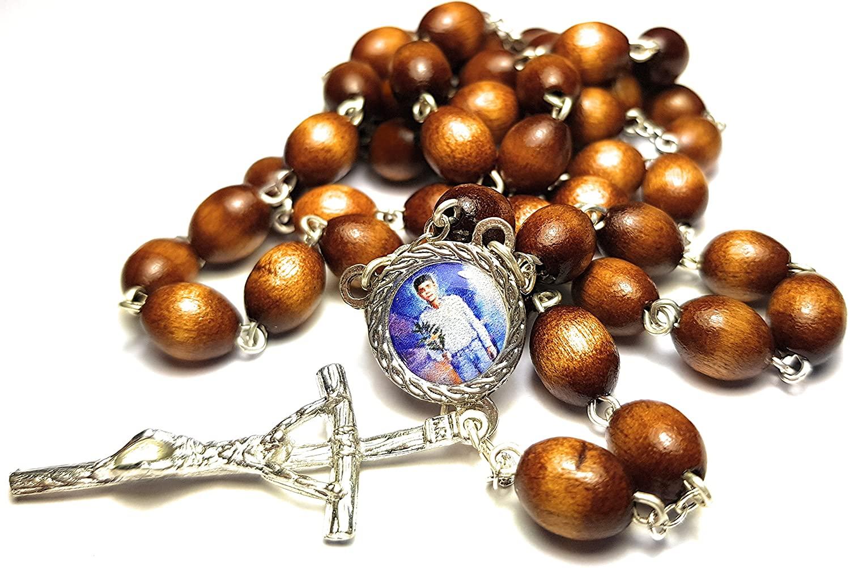 3rd Class relic Rosary of Saint Jose Luis Sanchez del Rio Mexican Cristero Martyr Guerra Cristera en México Rosario Cristo Rey Virgen de Guadalupe (Brown)