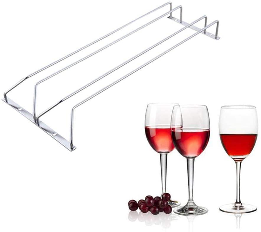 ZEERKEER Wine Cup Holder, Under Cabinet Wine Glass Rack, 304 Stainless Steel Double Row Hanging Stemware Holder for Cabinet Kitchen Bar (L(50cm22cm5cm))