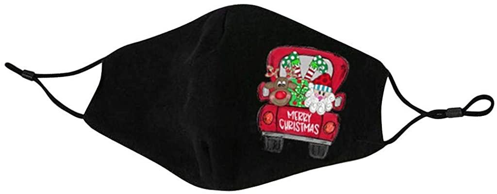 KAIXLIONLY Adults 1PC Xmas Face Bandanas Cute Christmas Print Cotton Fabric Washable Reusable Dustproof Seamless Bandanas