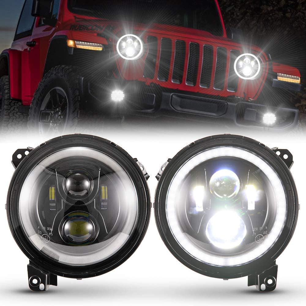 """BUNKER INDUST 9"""" Inch Wrangler JL LED Headlights with Halo DRL,1 Pair Adjustable Headlights for 2018 2019 2020 Jeep Wrangler JL 2019 2020 Jeep JT Gladiator High Low Beam Headlamp with Daytime Running"""