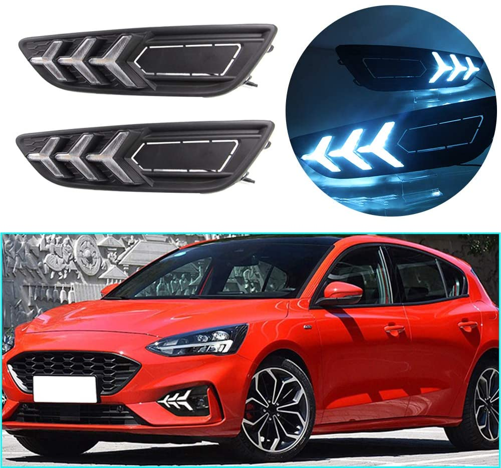 LED DRL Light Three-color for Ford Focus 2015-2018 Fog Lamp Decorative Automotive Lights Exterior Accessories Model C 1 pair