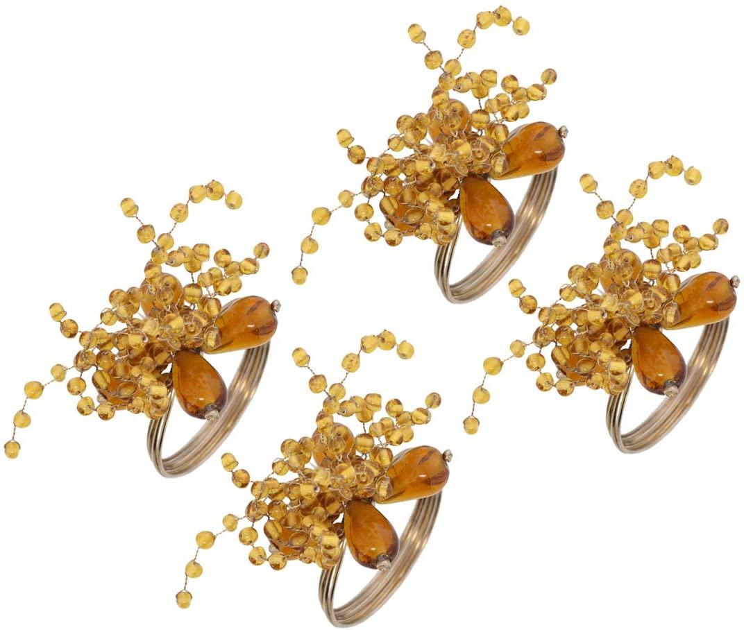 Li'Shay Napkin Rings Gold Décor Flower for Wedding Dinner or Party - Set of 4