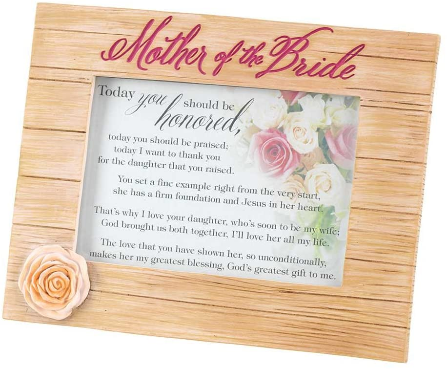 Dicksons Mother of The Bride Flower Multi 6.5 x 8.5 Resin Stone Table Top Photo Frame Sign Plaque