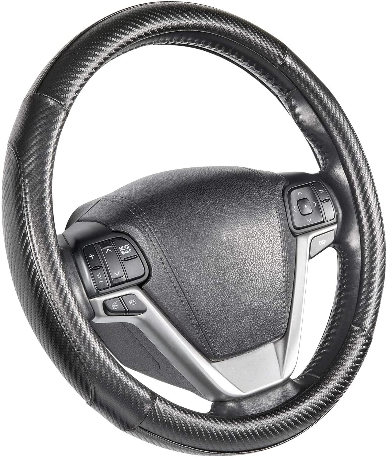 SEG Direct Steering Wheel Covers Black Carbon Fiber Pattern Large Size 15 1/2