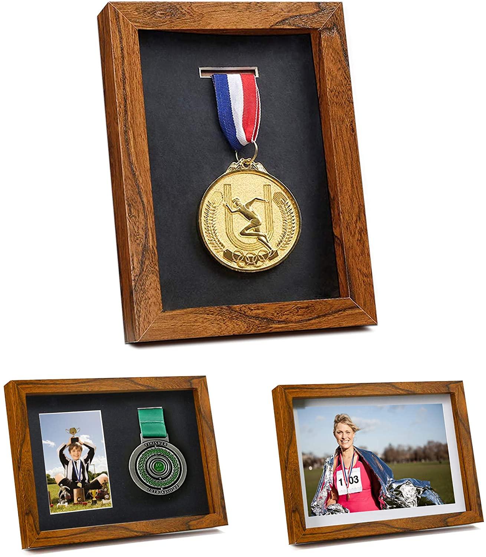 Iheipye Medal Display Shadow Box - Single Medal Display case - Perfect Medal Display for Runners, Marathon, RECE Winner,Soccer, Gymnastics & All Sports (Brown, 6x8)