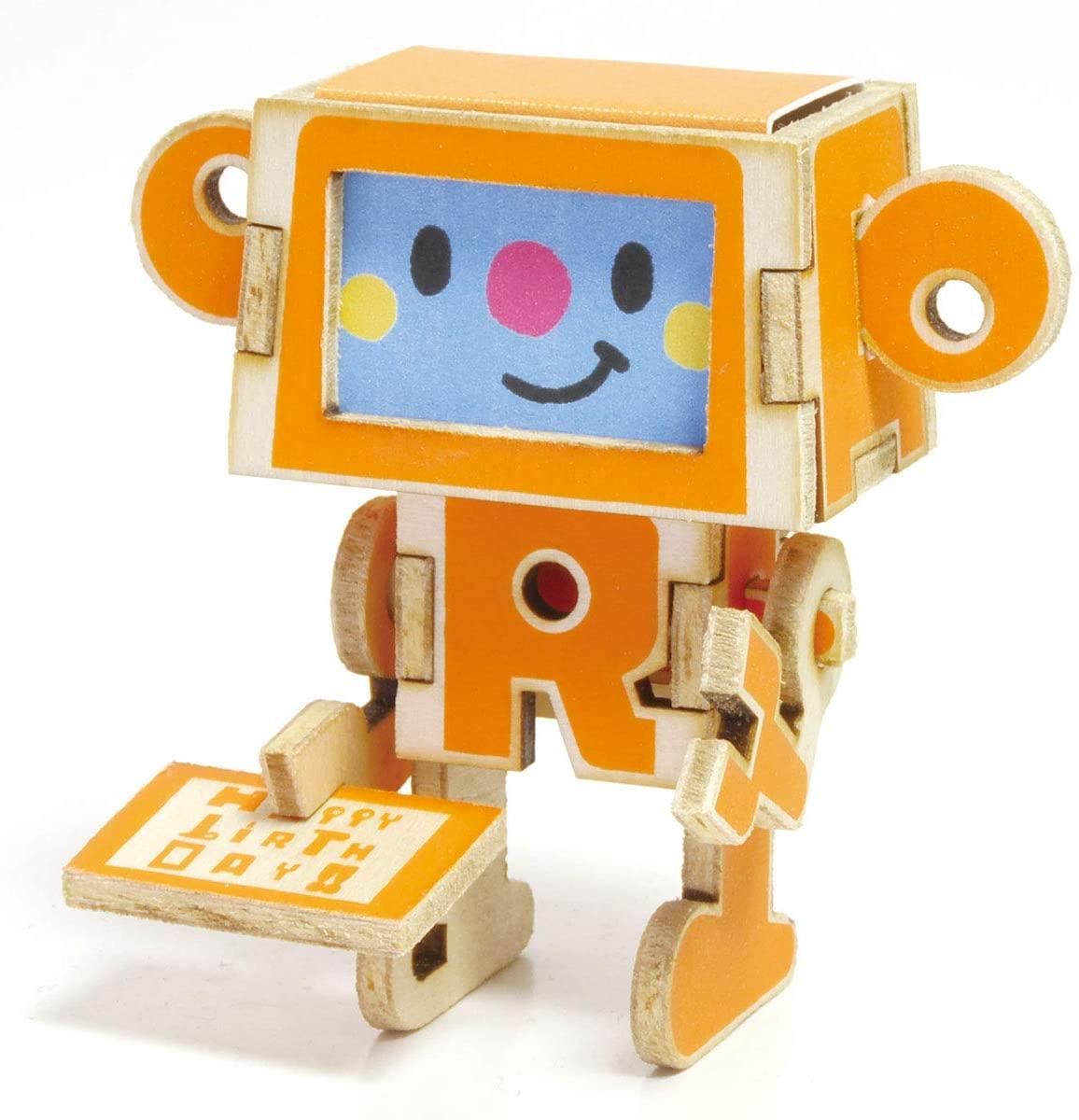 PLAYDECO DIY Happy Birthday Card - Wooden 3D Pop Up Robot Greeting Card (Happy Birthday Orange)