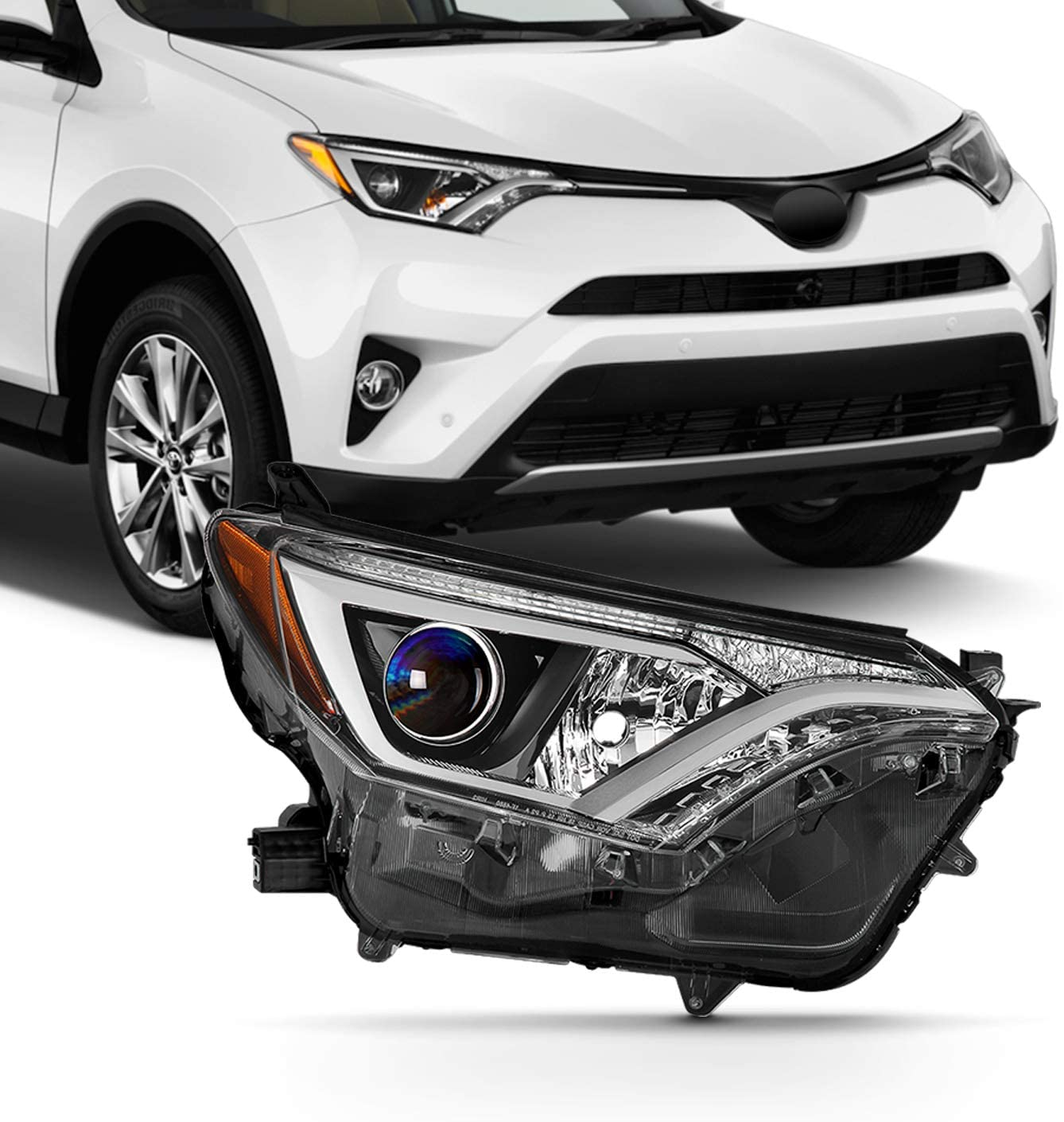 Fits 2016 2017 2018 Toyota Rav4 [Tube Bar] Halogen Type Projector Headlight Passenger Right Side Replacement