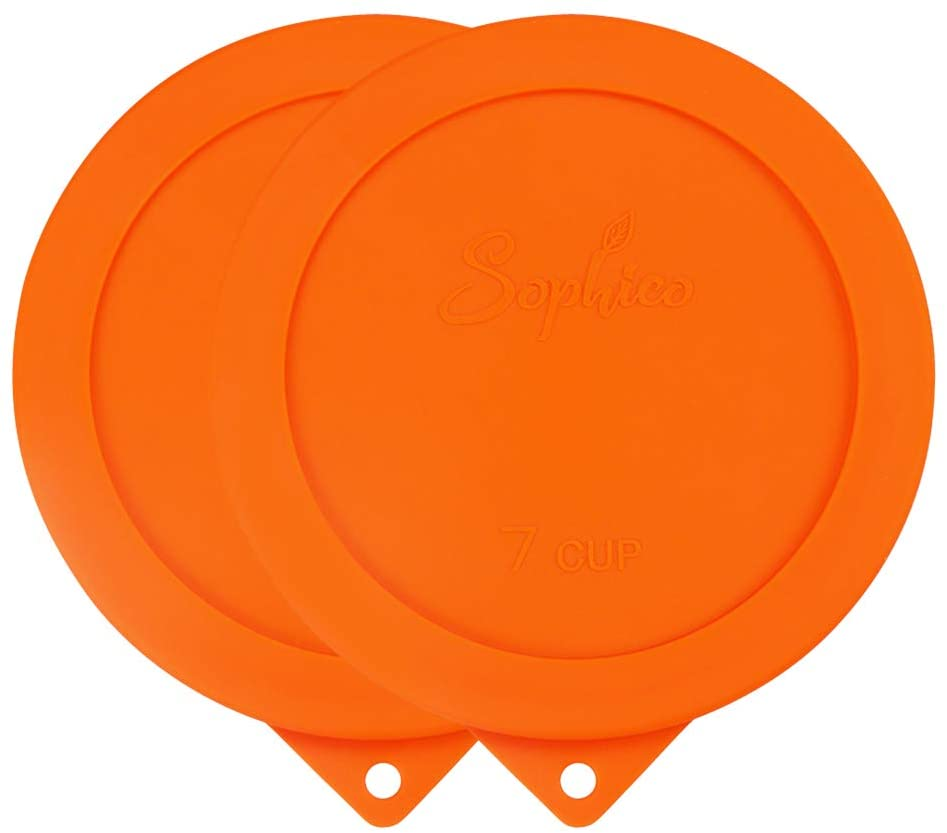 Sophico 7 Cup Round Silicone Storage Cover Lids Replacement for Anchor Hocking and Pyrex 7402-PC Glass Bowls (Container not Included) (Orange - 2 pack)