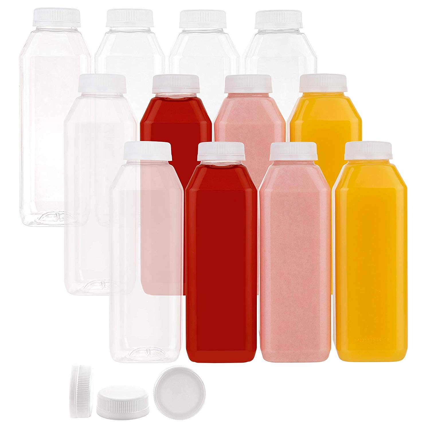 Disposable Plastic Juice Bottles-16 Oz with Lids | 160 Pack | for Water, Orange Apple Lemon Juicing, Smoothies, Milk, Reusable, BPA Free, Tamper-Proof Caps, Catering, Takeout