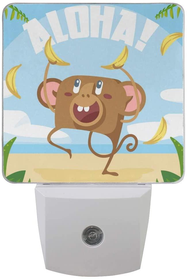 Printing Hawaii Monkey Banana Beach Patterns on Plug-in LED Night Light Warm White Nightlight for Bedroom Bathroom Hallway Stairways(0.5W 2-Pack)