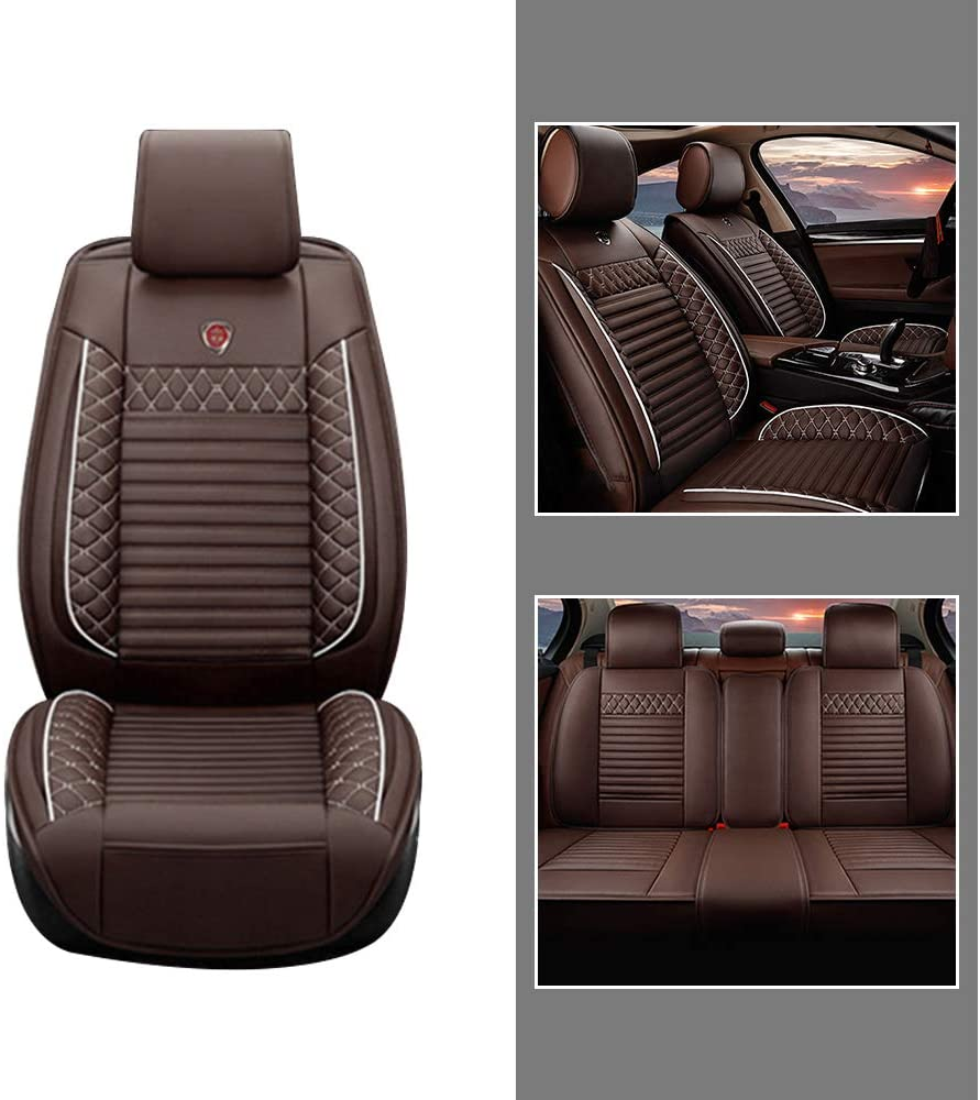 All Season Leather Seat Covers Full Set for BMW 5 Series E60 F07 F10 F11 Car Front + Rear Row Seat 3D Protection Breathable & Comfortable Brown