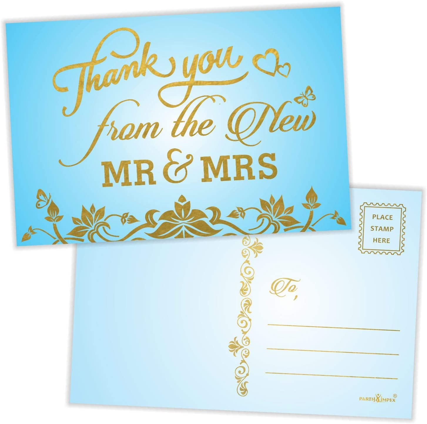 Thank You from the New Mr. and Mrs. Postcards (Pack of 50) Gold Foil Stamping with Mailing Side 4