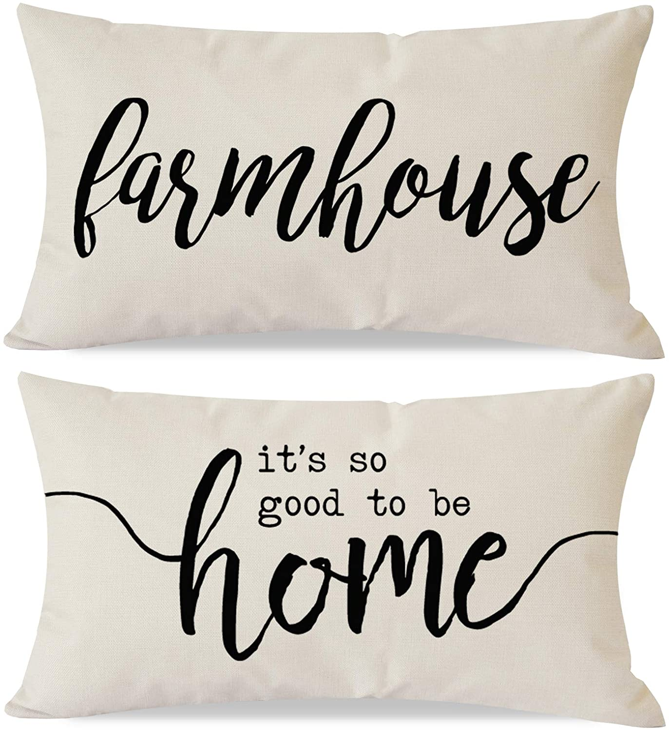 PANDICORN Set of 2 Farmhouse Pillow Covers 12x20 with Words Farmhouse It's So Good to Be Home for Room Décor, Lumbar Throw Pillow Cases for Guest Room Outdoor Porch Chair
