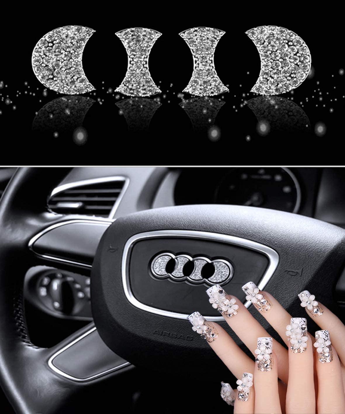 Sparkle-um Steering Wheel Unique Bling Crystal Badge Emblem Overlay Decal Decoration Cover Sticker Trim for Audi.(Audi)