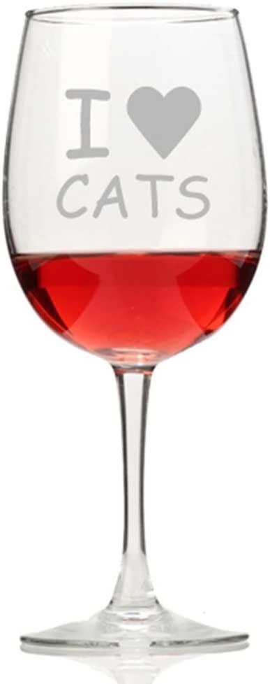I Love Cats Wine Glass