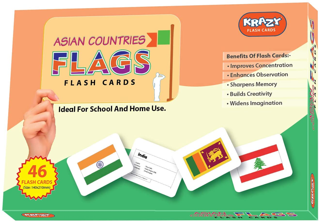 Krazy Educational Flash Cards | Asian Countries Flags | Educational Learning Materials | Play Cards Toys | Board Game for Toddlers, Kids ( Multicolor) (Set 1)