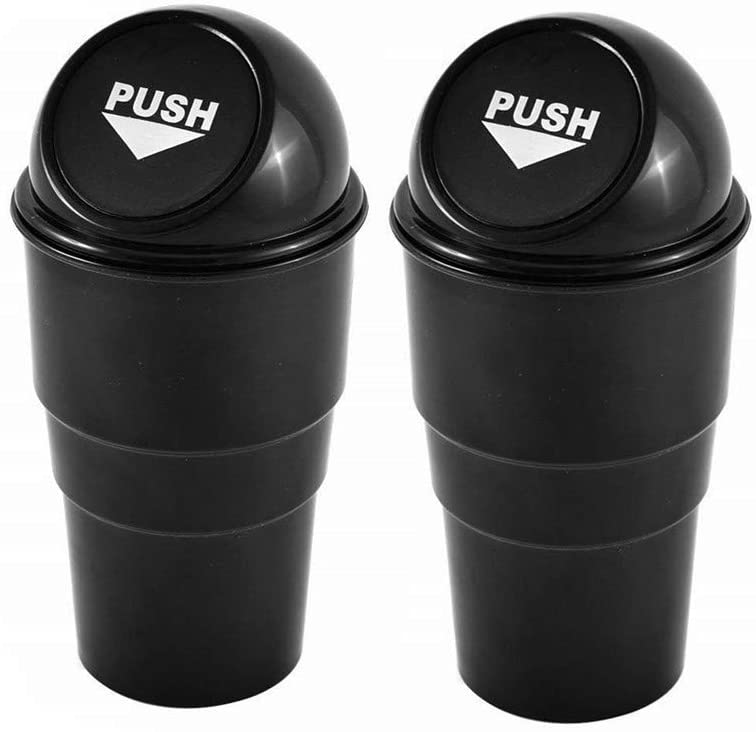 AISIBO Automotive Cup Holder Garbage Can Trash Bin Small Mini Car Trash Garbage Can for Car Office Home (2pcs)