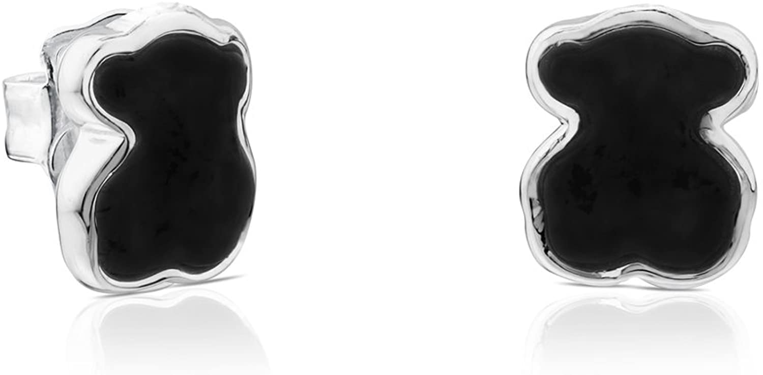 TOUS Earrings in Sterling Silver with Black Onyx, Push Back Closure - Motif: 0.7 cm