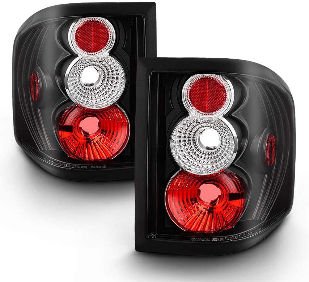 ACANII - For 2004-2008 Ford F-150 Flareside Black Housing Rear Tail Lights Brake Lamps Pair Driver & Passenger Side