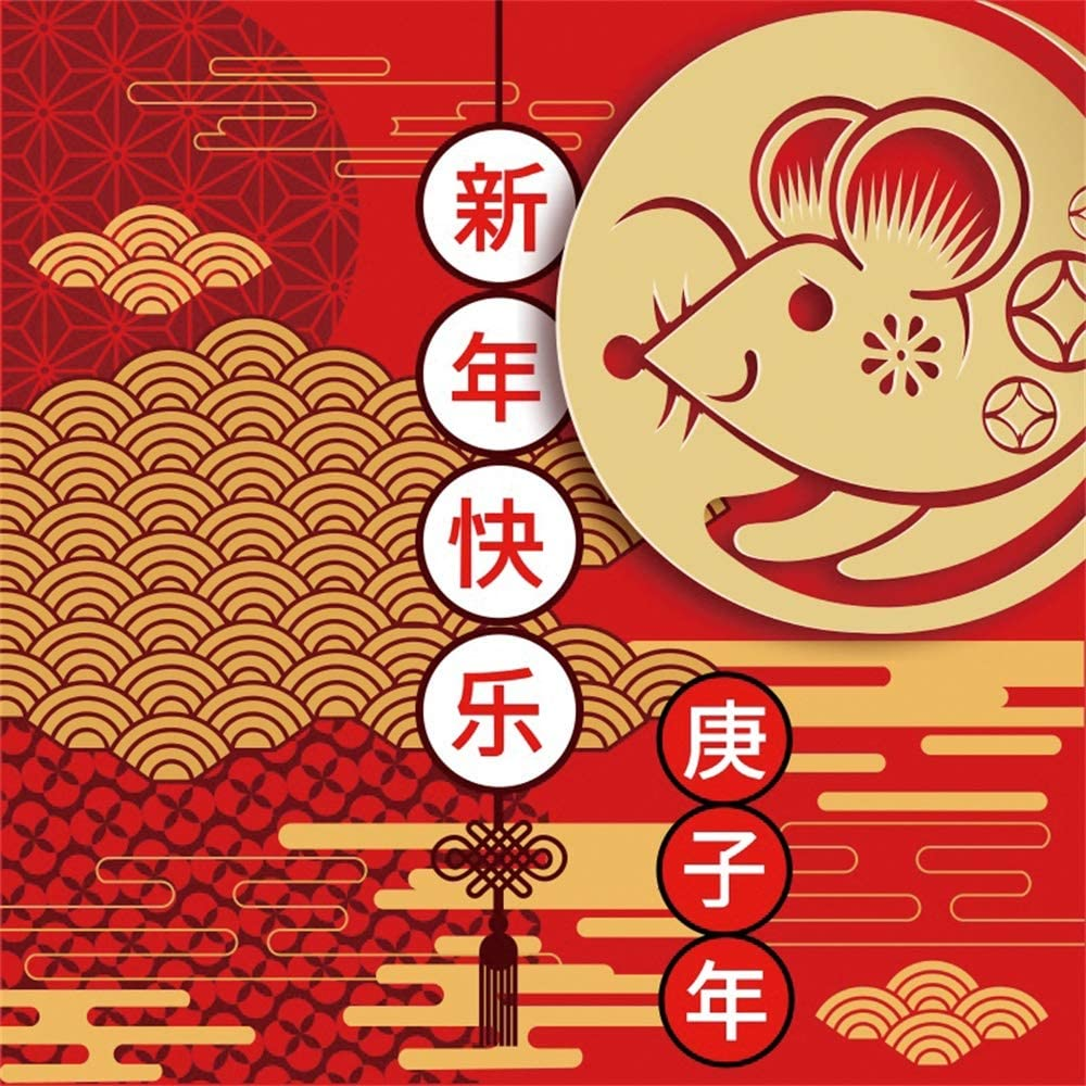 Leowefowa 10x10ft Happy New Year 2020 Backdrop Vinyl Gengzi Year Chinese Style Mouse Paper-Cut On Auspicious Clouds Red Photography Background New Year Party Banner Greeting Card Studio