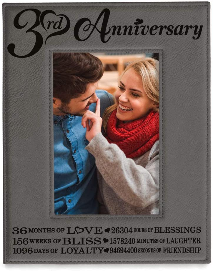 KATE POSH - 3rd Engraved Leather Picture Frame, 3 Years Together for Boyfriend, Girlfriend, 3 Years as Husband and Wife, 3 Years of Marriage, Gifts for Couple (5x7-Vertical)