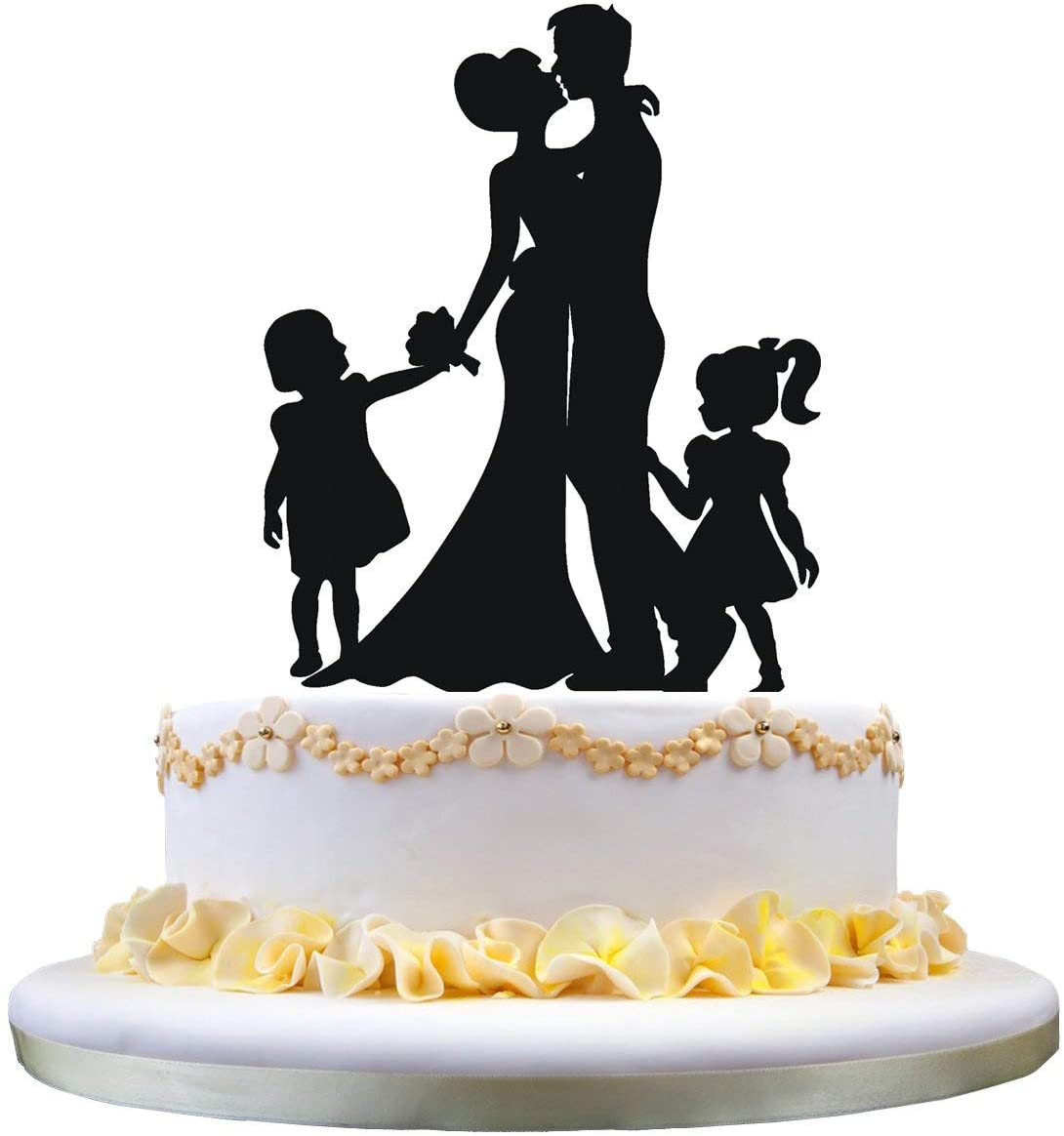zhongfei Anniversary Cake Topper- Bride and Groom with 2 Little Girls, Happy Family Cake Topper for Engagement Wedding Anniversary Cake Decoration