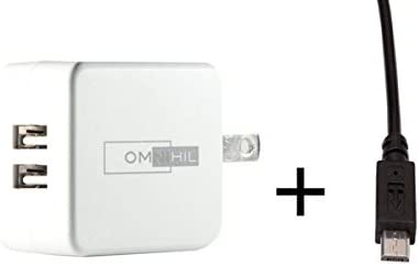 Omnihil 2-Port Usb Charger & Micro-Usb Cord Compatible with D-Link DCS-936L DCS 936L HD Wi-Fi Camera