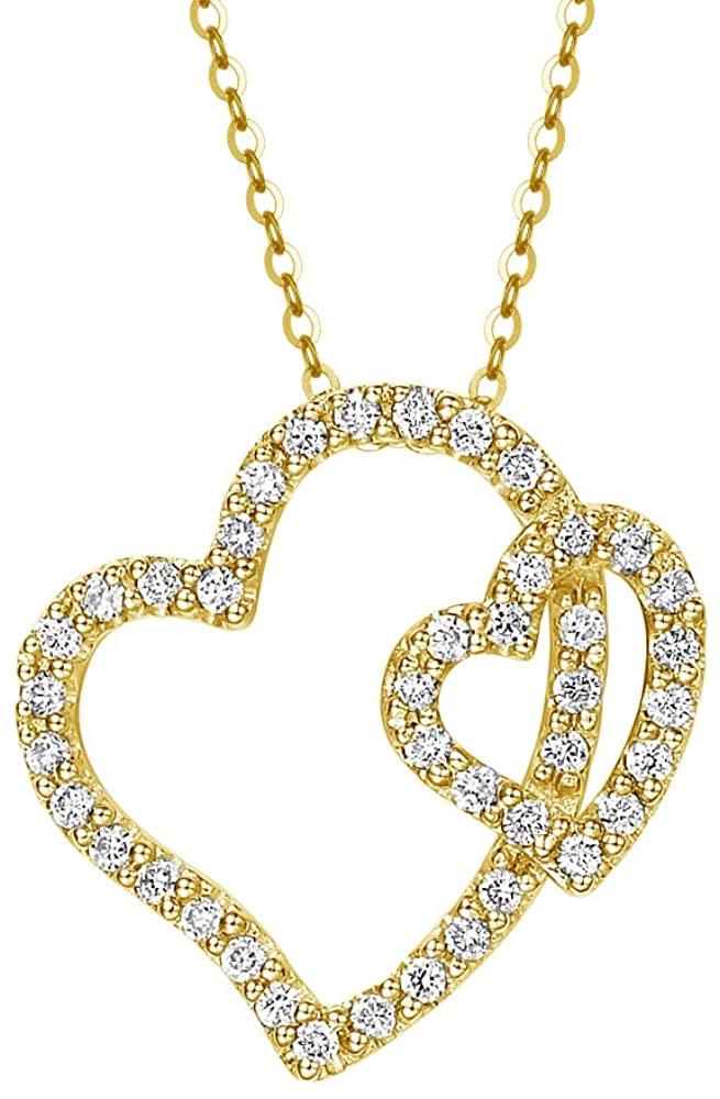 BEBEWO 14K Yellow Gold Double Heart Pendant Necklace for Women Girls Mom 10K 18K White Gold Love Heart Pendant Moissanite Necklace Jewelry Birthday Gift