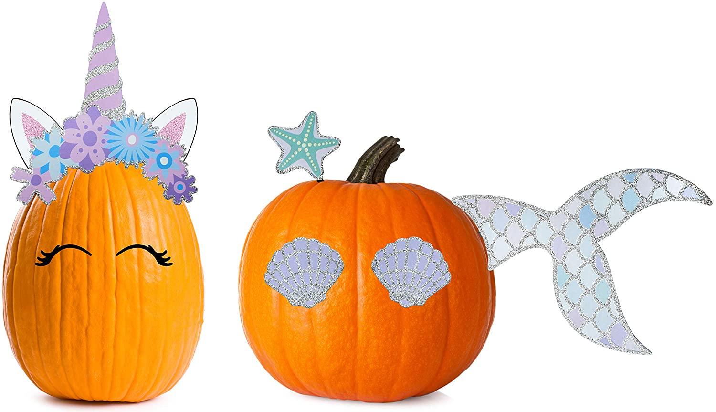 Decorae Halloween Pumpkin Kit Sets (Unicorn and Mermaid Theme), 13 Reusable Metal Accessories for Halloween Fall Pumpkin Face Decorating