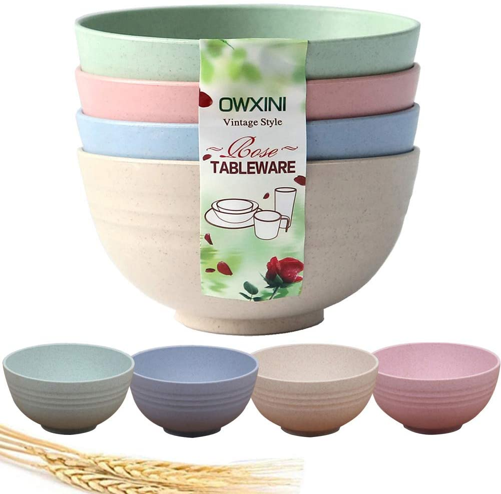 OWXINI Unbreakable Cereal Bowls - 24 OZ (6 inch) Wheat Straw Fiber Lightweight Degradable Bowl Sets 4- Dishwasher & Microwave Safe - Eco-Friendly - for Cereal,Salad,Soup, Noodle Bowls