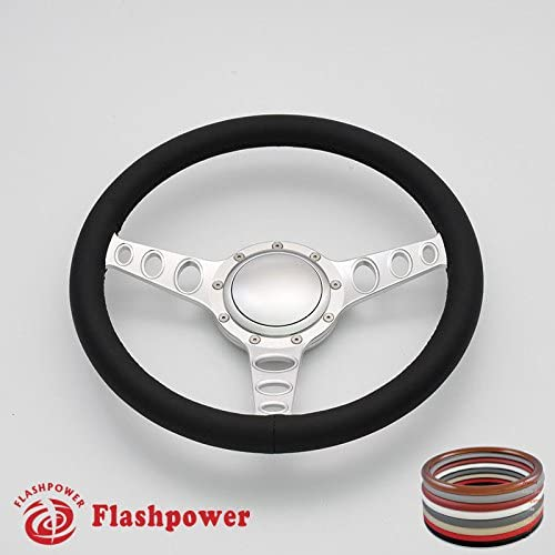 Flashpower 14''Satin Billet Cruisin Full Wrap 9 Bolts Steering Wheel with 2'' Dish and Horn Button (Black)