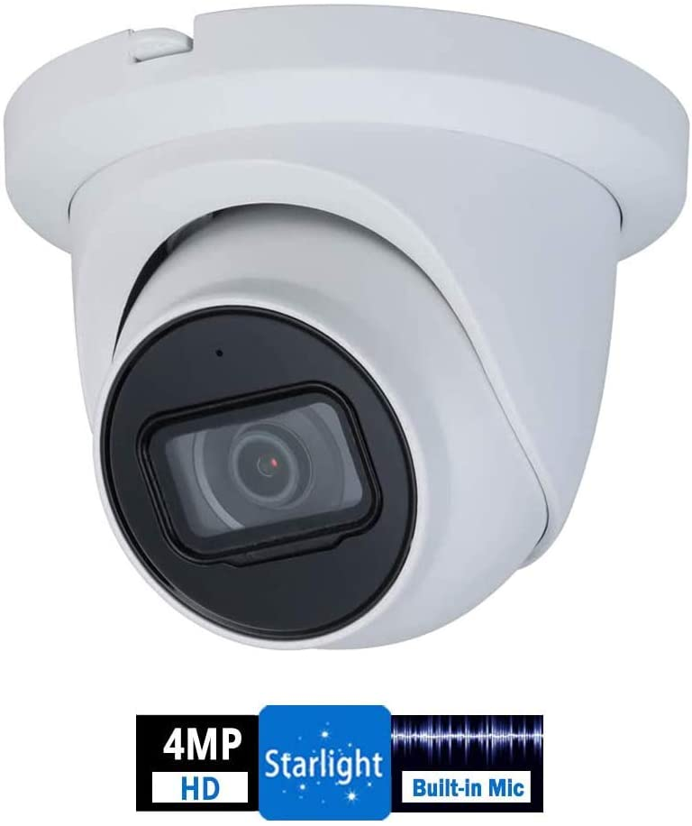 4MP Outdoor POE Dome Camera - IPC-HDW2431TM-AS 2.8mm Lens WDR IR Eyeball Security Network Camera 98ft IR Night Vision Built-in Mic H.265 IP67 Weatherproof